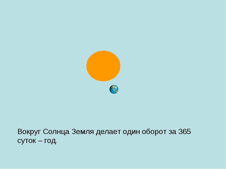 Вокруг Солнца Земля делает один оборот за 365 суток – год.