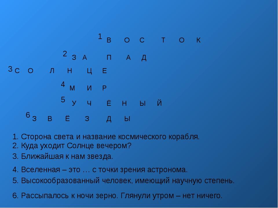 1 2 3 4 5 6 1. Сторона света и название космического корабля. 2. Куда уходит...