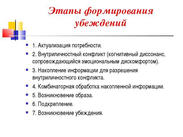 Этапы формирования убеждений 1. Актуализация потребности. 2. Внутриличностны...