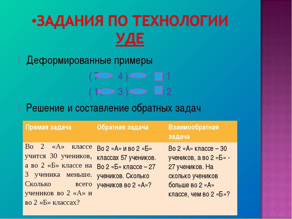Деформированные примеры ( 7 4 ) = 1 ( 11 3 ) = 2 Решение и составление обратн...