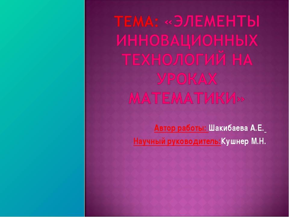 Автор работы: Шакибаева А.Е. Научный руководитель:Кушнер М.Н.