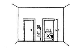 Разметка мест установки выключателей и штепсельных розеток у санитарной кабины квартиры