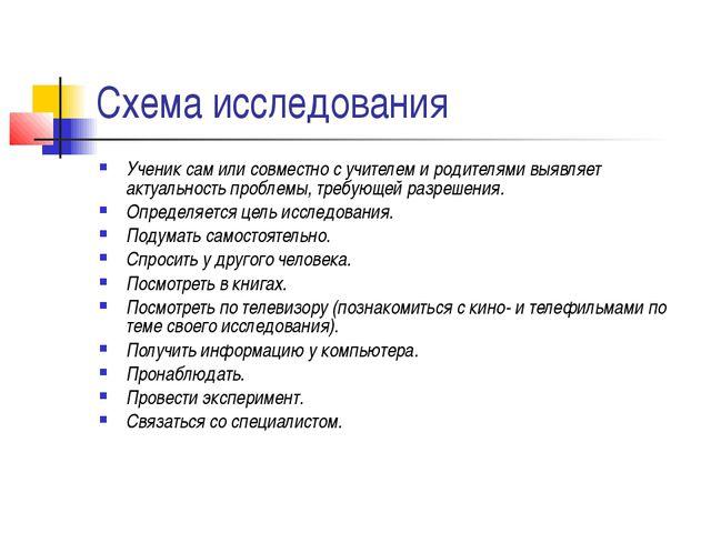 Схема исследования Ученик сам или совместно с учителем и родителями выявляет...