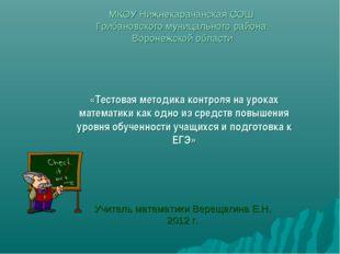 МКОУ Нижнекарачанская СОШ Грибановского муницального района Воронежской облас
