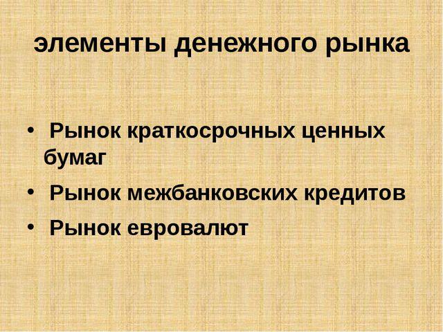 элементы денежного рынка Рынок краткосрочных ценных бумаг Рынок межбанковск...