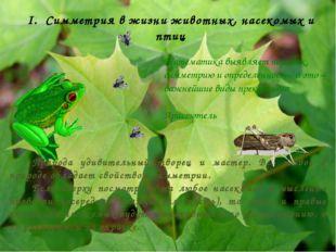 I. Симметрия в жизни животных, насекомых и птиц Математика выявляет порядок,