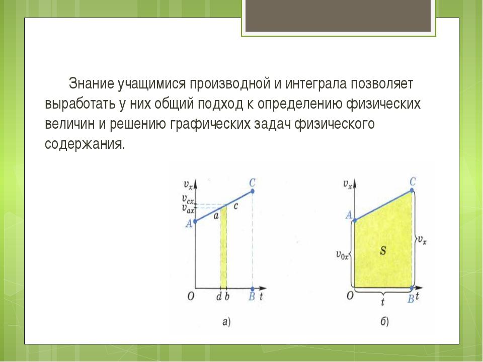 Знание учащимися производной и интеграла позволяет выработать у них общий по...