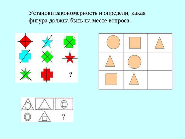 Установи закономерность и определи, какая фигура должна быть на месте вопроса.