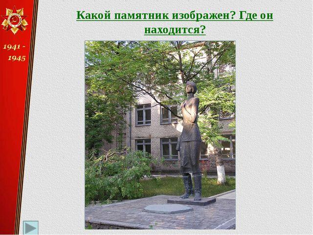 Какой памятник изображен? Где он находится? «Медицинской сестре» Калининский...