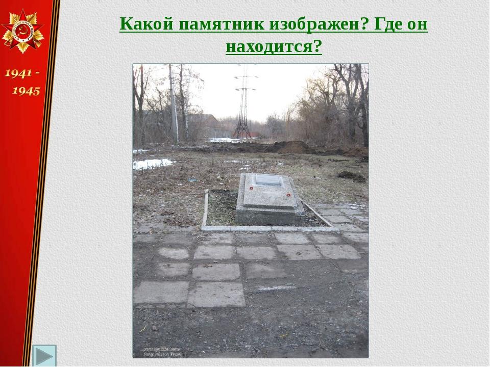 Какой памятник изображен? Где он находится? «Воину-освободителю Радченко И.А....