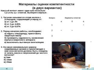 Материалы оценки компетентности (в двух вариантах) Каждый вопрос имеет один и