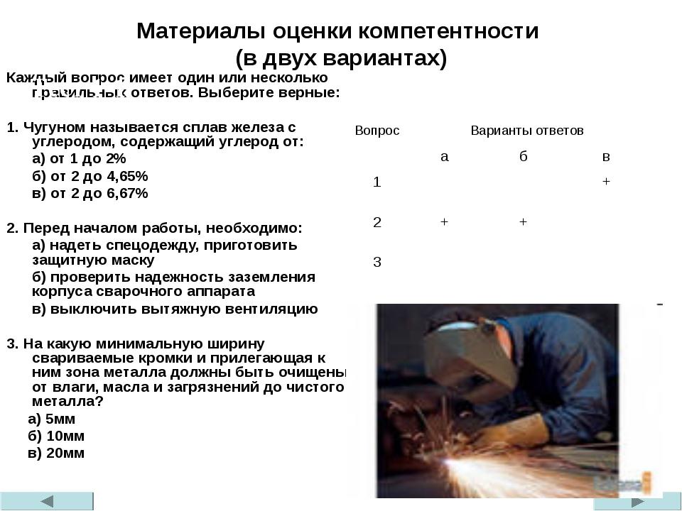 Материалы оценки компетентности (в двух вариантах) Каждый вопрос имеет один и...