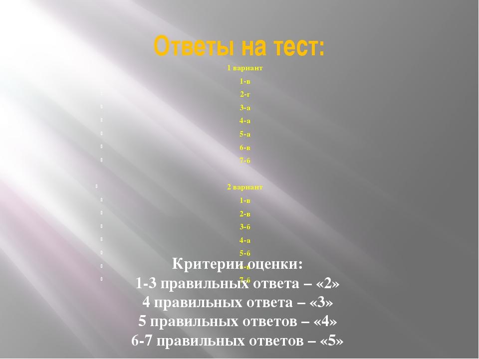Ответы на тест: 1 вариант 1-в 2-г 3-а 4-а 5-а 6-в 7-б 2 вариант 1-в 2-в 3-б 4...