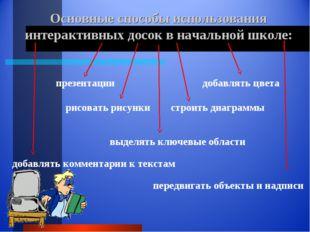 Основные способы использования интерактивных досок в начальной школе: презент