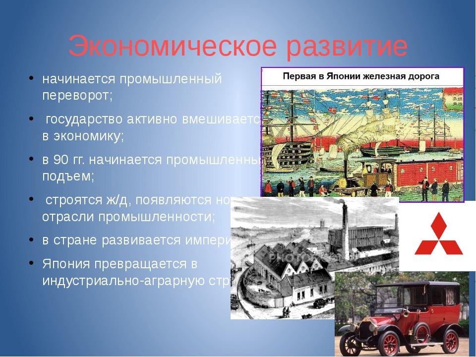 Экономическое развитие начинается промышленный переворот; государство активно...