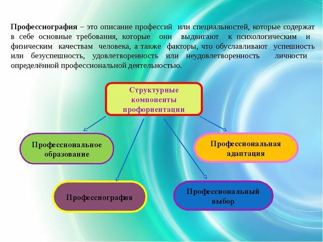 Профессиография – это описание профессий или специальностей, которые содержат...
