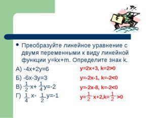 Преобразуйте линейное уравнение с двумя переменными к виду линейной функции y