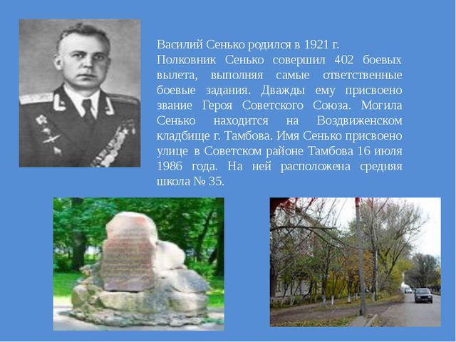 Василий Сенько родился в 1921 г. Полковник Сенько совершил 402 боевых вылета,...