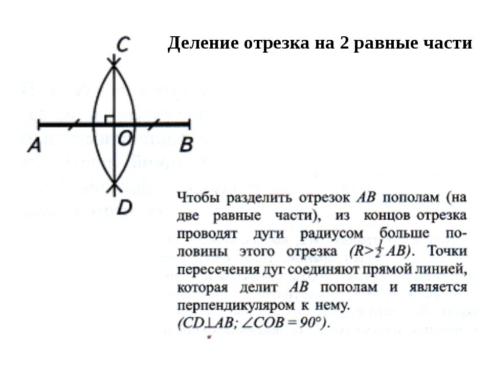 Деление отрезка на 2 равные части
