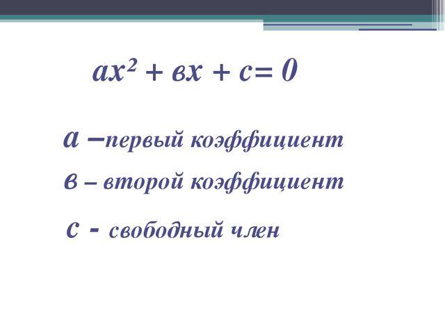 ах² + вх + с= 0 а –первый коэффициент в – второй коэффициент с - свободный член