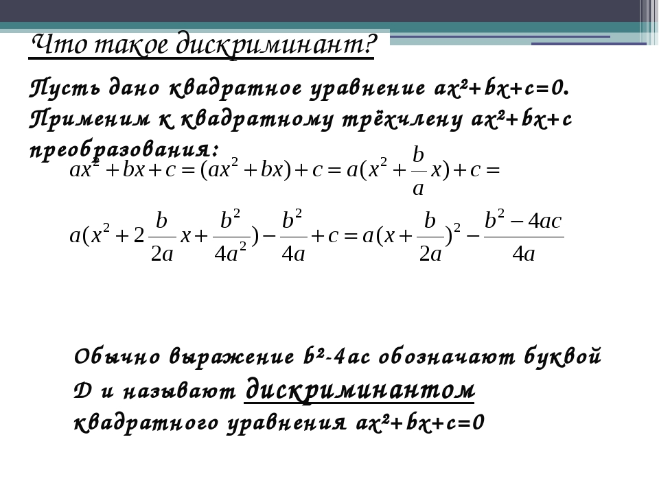 Что такое дискриминант? Пусть дано квадратное уравнение ax²+bx+c=0. Применим...