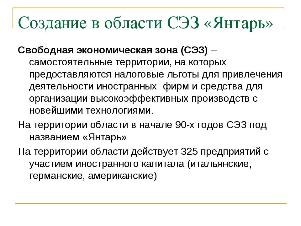 Создание в области СЭЗ «Янтарь» Свободная экономическая зона (СЭЗ) – самостоя...
