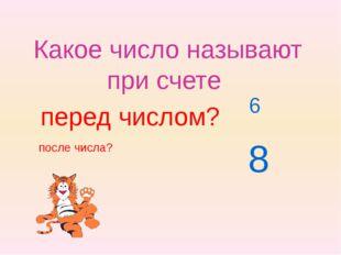 Какое число называют при счете после числа? 6 перед числом? 8