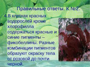 Правильные ответы. К.№2. 4.В клетках красных водорослей кроме хлорофилла соде
