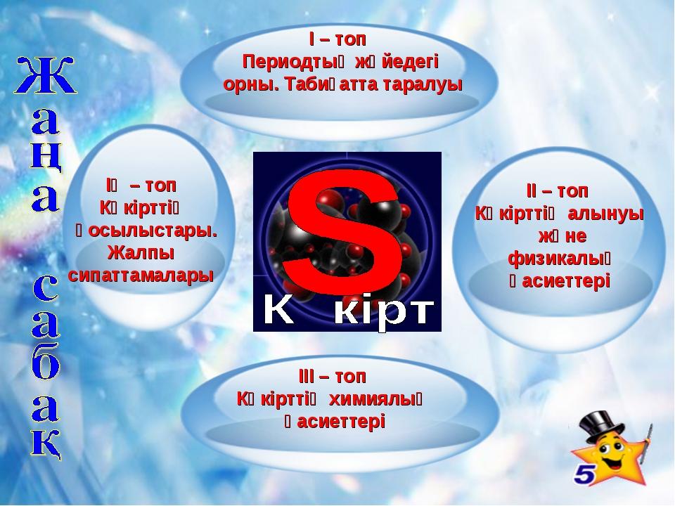 ІІІ – топ Күкірттің химиялық қасиеттері ІІ – топ Күкірттің алынуы және физика...