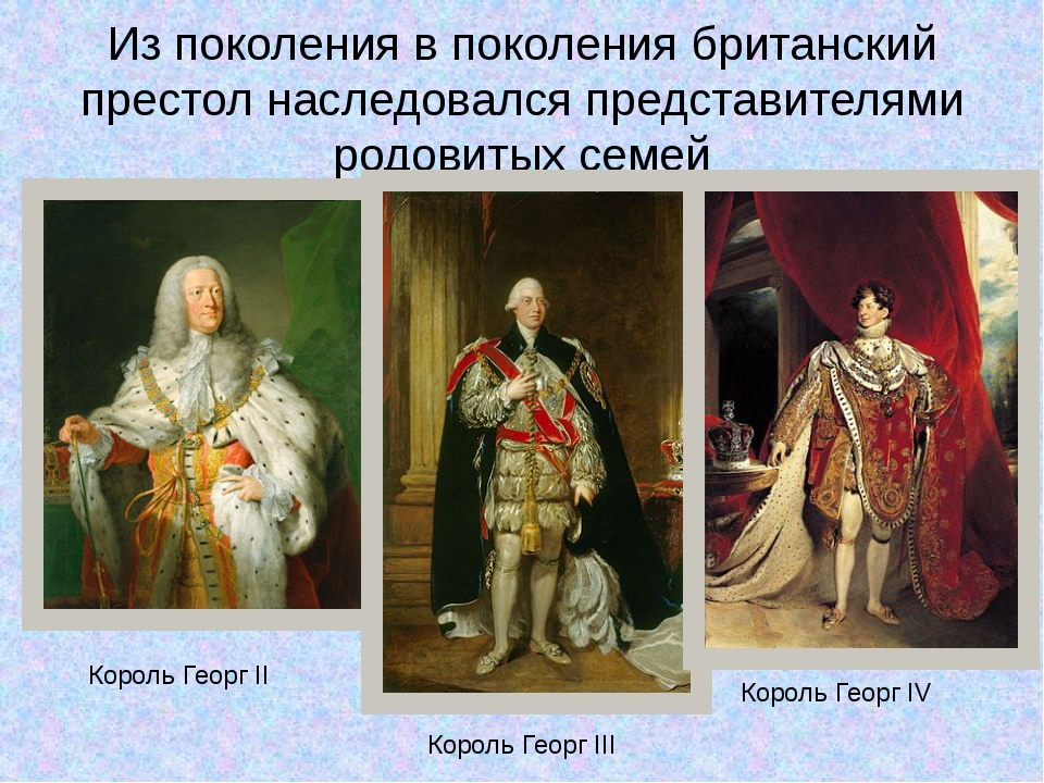Из поколения в поколения британский престол наследовался представителями родо...