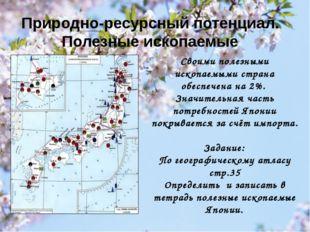 Природно-ресурсный потенциал. Полезные ископаемые Своими полезными ископаемым