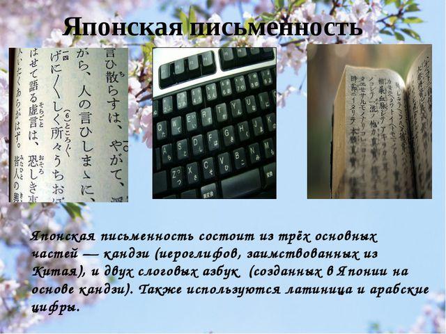 Японская письменность состоит из трёх основных частей— кандзи (иероглифов, з...