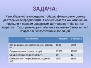ЗАДАЧА: Рентабельность определяет общую финансовую оценку деятельности предпр