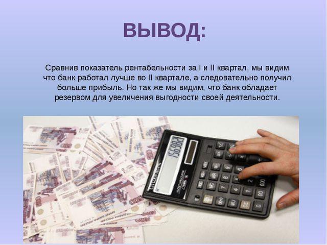 ВЫВОД: Сравнив показатель рентабельности за I и II квартал, мы видим что банк...