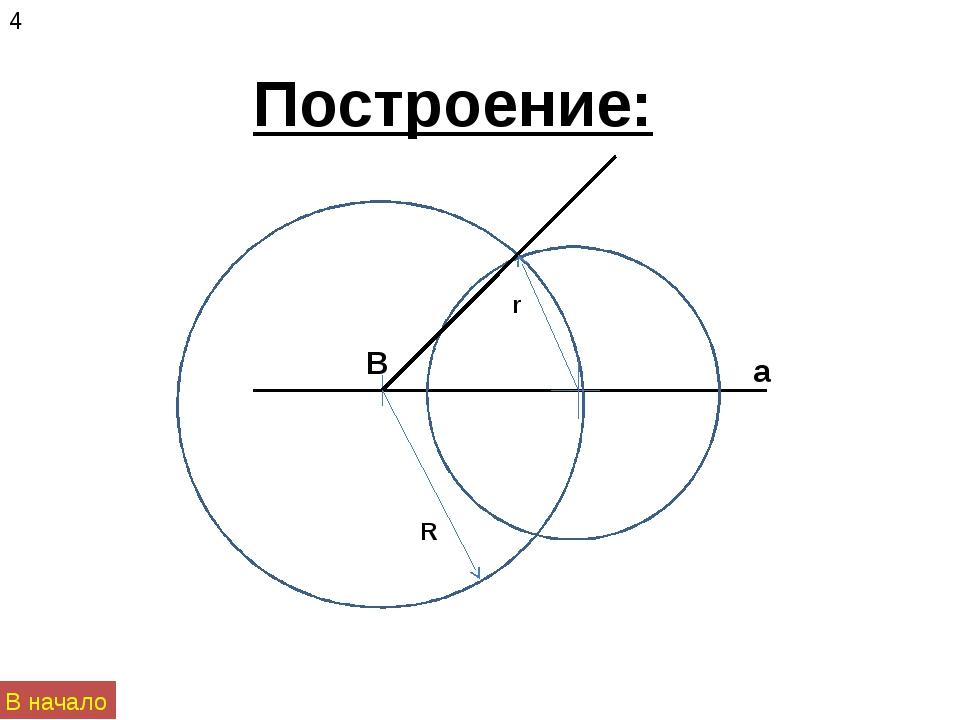 Построение: а R r B 4 В начало
