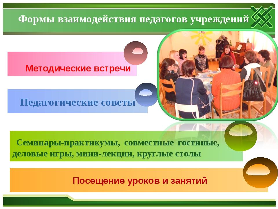 Формы взаимодействия педагогов учреждений