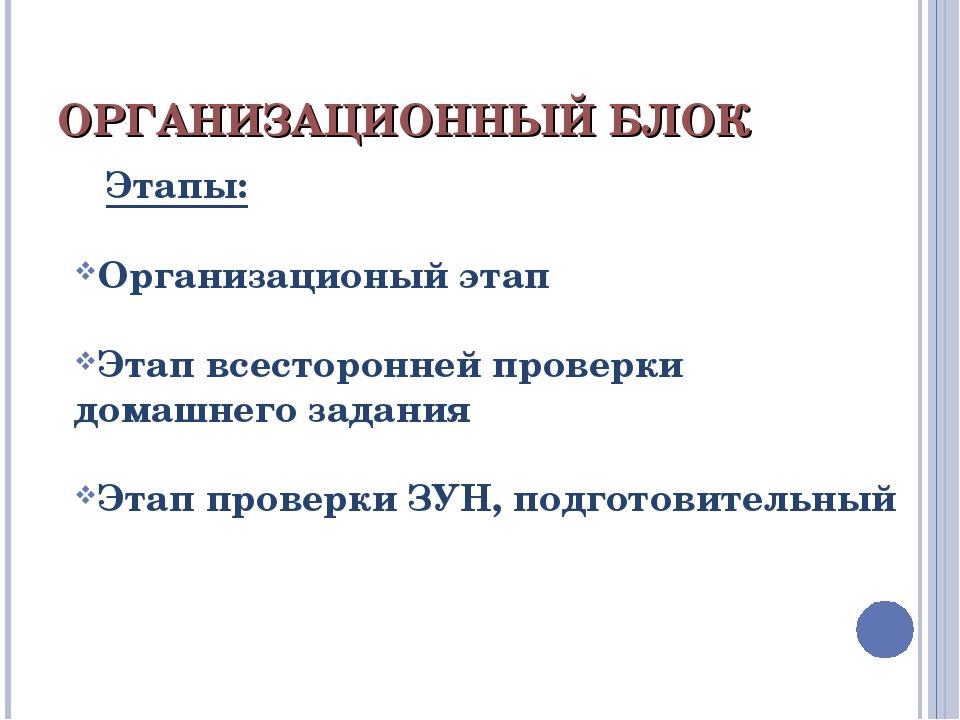 ОРГАНИЗАЦИОННЫЙ БЛОК Этапы: Организационый этап Этап всесторонней проверки до...