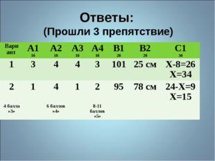 Ответы: (Прошли 3 препятствие) ВариантА1 1бА2 1бА3 1бА4 1бВ1 2бВ2 2бС1