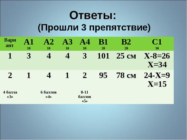 Ответы: (Прошли 3 препятствие) ВариантА1 1бА2 1бА3 1бА4 1бВ1 2бВ2 2бС1...