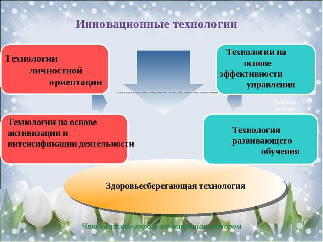 Инновационные технологии Технологии личностной ориентации Работа в составе т...