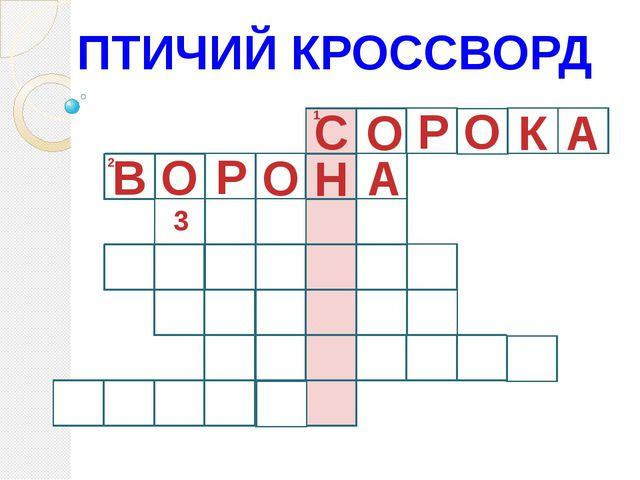 ПТИЧИЙ КРОССВОРД 1 С О Р О К А 2 О А Н О Р В 3