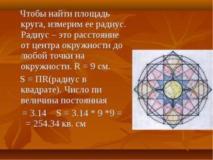 Чтобы найти площадь круга, измерим ее радиус. Радиус – это расстояние от цен