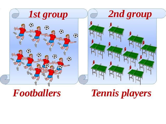 Footballers Tennis players 1st group 2nd group