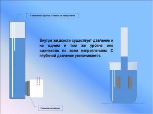 Стеклянная трубка с боковым отверстием Резиновая пленка Внутри жидкости сущес
