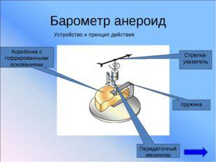 Барометр анероид Устройство и принцип действия Коробочка с гофрированными осн
