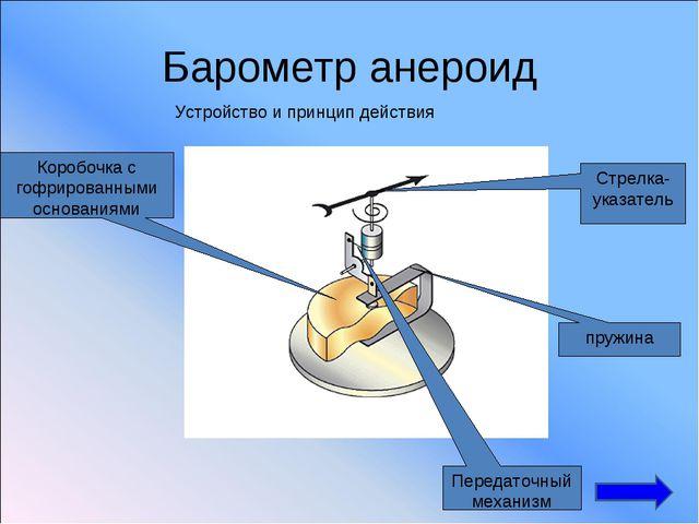 Барометр анероид Устройство и принцип действия Коробочка с гофрированными осн...
