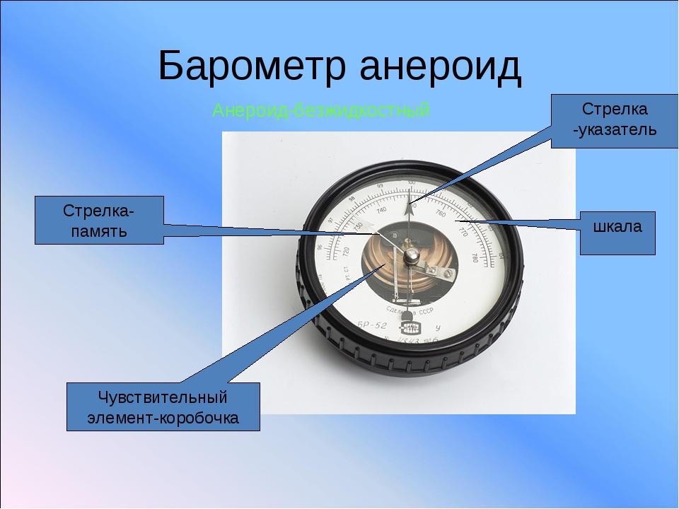 Барометр анероид Стрелка-память Стрелка -указатель Чувствительный элемент-кор...