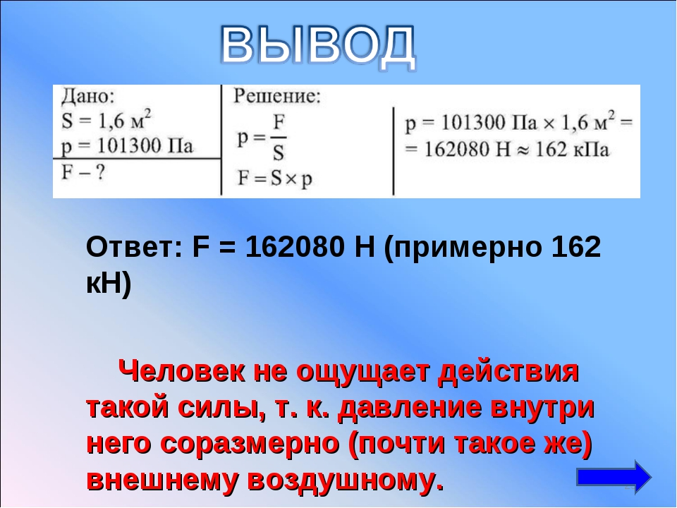 Ответ: F = 162080 H (примерно 162 кН) Человек не ощущает действия такой сил...
