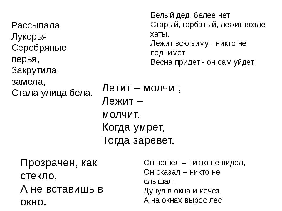 Летит – молчит, Лежит – молчит. Когда умрет, Тогда заревет. Рассыпала Лукерья...