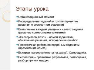 Этапы урока Организационный момент Распределение заданий в группе (принятие р